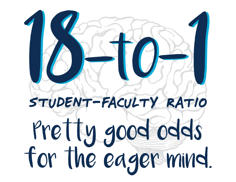 18-to-1 student-faculty ratio. Pretty good odds for the eager mind.